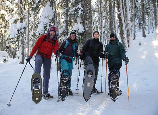 4 people in snowshoes